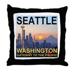Seattle WA Skyline Graphics Sunset Throw Pillow