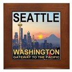 Seattle WA Skyline Graphics Sunset Framed Tile
