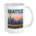Seattle WA Skyline Graphics Sunset Large Mug
