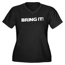 Bring it! Women's Plus Size V-Neck Dark T-Shirt