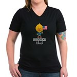 USA Soccer Chick Women's V-Neck Dark T-Shirt
