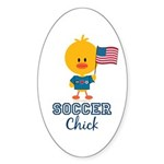 USA Soccer Chick Sticker (Oval 10 pk)