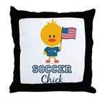 USA Soccer Chick Throw Pillow