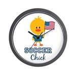 USA Soccer Chick Wall Clock