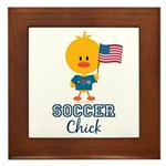 USA Soccer Chick Framed Tile