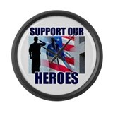 Support Our Heros Large Wall Clock