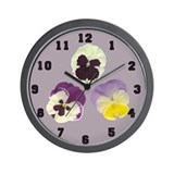 Delicate Pansy Flower Wall Clock