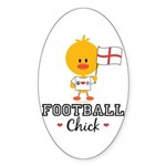 English Soccer Football Chick Sticker (Oval)