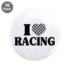 "I (Checker) Heart Racing 3.5"" Button (10 pack"