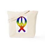 Rainbow Peace Ribbon Tote Bag