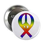 Rainbow Peace Ribbon Button