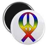 Rainbow Peace Ribbon Magnet