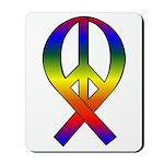 Rainbow Peace Ribbon Mousepad