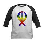 Rainbow Peace Ribbon Kids Baseball Jersey