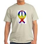 Rainbow Peace Ribbon Ash Grey T-Shirt