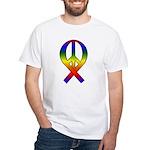 Rainbow Peace Ribbon White T-Shirt