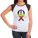 Rainbow Peace Ribbon Women's Cap Sleeve T-Shirt