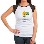Brazil Soccer Futebol Chick Women's Cap Sleeve T-S