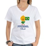 Brazil Soccer Futebol Chick Women's V-Neck T-Shirt