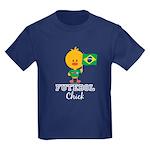 Brazil Soccer Futebol Chick Kids Dark T-Shirt
