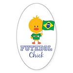 Brazil Soccer Futebol Chick Sticker (Oval 10 pk)