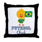 Brazil Soccer Futebol Chick Throw Pillow