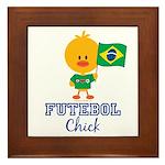 Brazil Soccer Futebol Chick Framed Tile