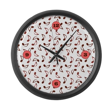 Music Notes Large Wall Clock