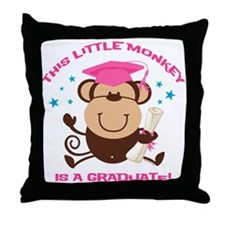 Girl Monkey Graduate Throw Pillow