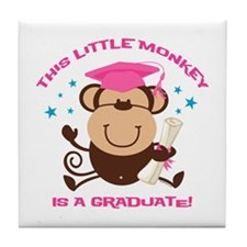 Girl Monkey Graduate Tile Coaster