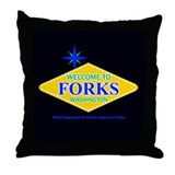 Welcome to Forks Throw Pillow