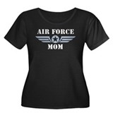 Air Force Mom Women's Plus Size Scoop Neck Dark T-