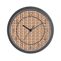 Brown Wicker Look Wall Clock