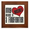 Heart Belongs Firefighter Framed Tile