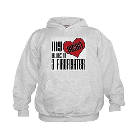 Heart Belongs Firefighter Kids Hoodie