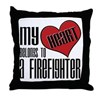 Heart Belongs Firefighter Throw Pillow