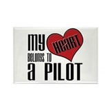Heart Belongs Pilot Rectangle Magnet