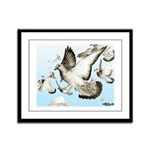 Flying Homer Pigeons Framed Panel Print