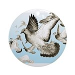 Flying Homer Pigeons Ornament (Round)