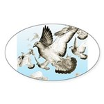 Flying Homer Pigeons Oval Sticker