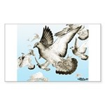 Flying Homer Pigeons Rectangle Sticker