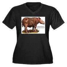 Sumatran Rhinoceros Women's Plus Size V-Neck Dark