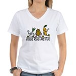 Veggie Runs Women's V-Neck T-Shirt
