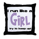 I run like a girl try to kee Throw Pillow