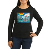 Woman with Peacock Long Sleeve Dark T-Shirt