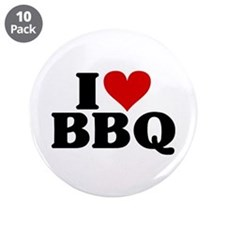 "I Heart BBQ 3.5"" Button (10 pack)"