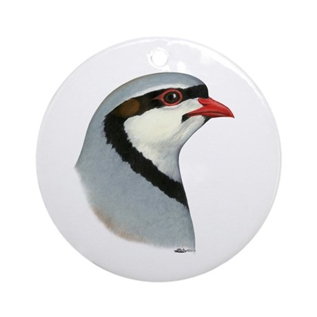 Chukar Partridge Head Ornament (Round)