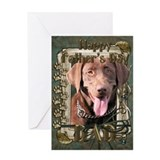 Stone Paws Chocolate Labrador Greeting Card