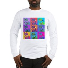 Op Art Siberian Husky Long Sleeve T-Shirt