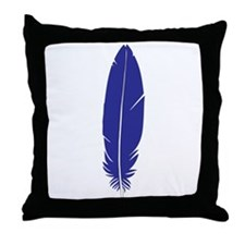 Blue Feather Throw Pillow